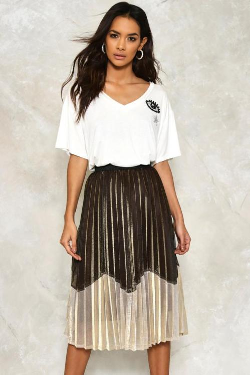 zoe metallic skirt nasty gal
